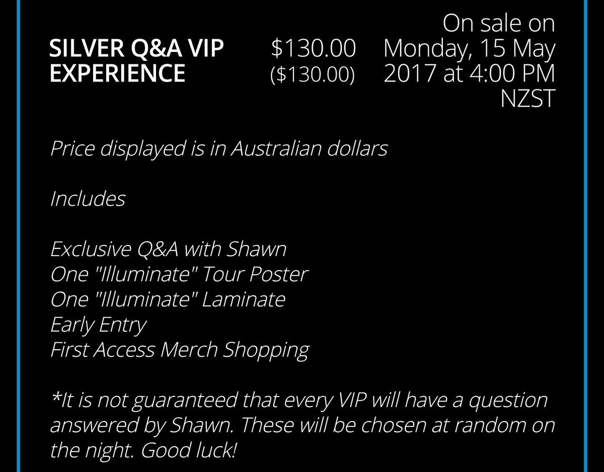 Shawn mendes nz on twitter silver qa vip experience m4hsunfo