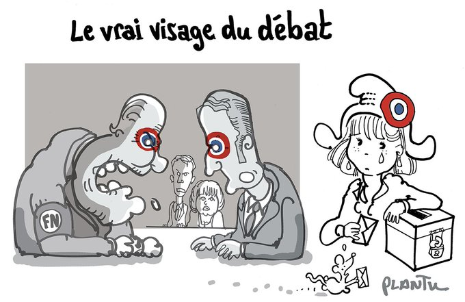 LE VRAI VISAGE DU DEBAT.  Le dessin du Monde de ce lundi 4 mai.
