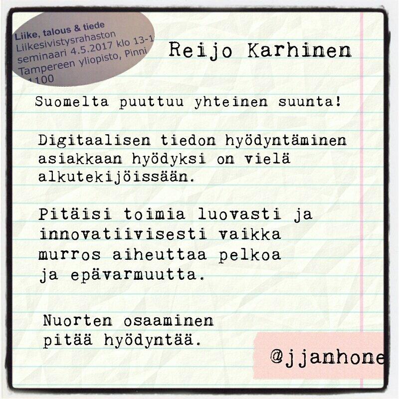 Jos ei ole yhteistä suuntaa, emme pääse eteenpäin. @ReijoKarhinen  #liiketaloustiede #digitalist https://t.co/QVGDC9mEO1
