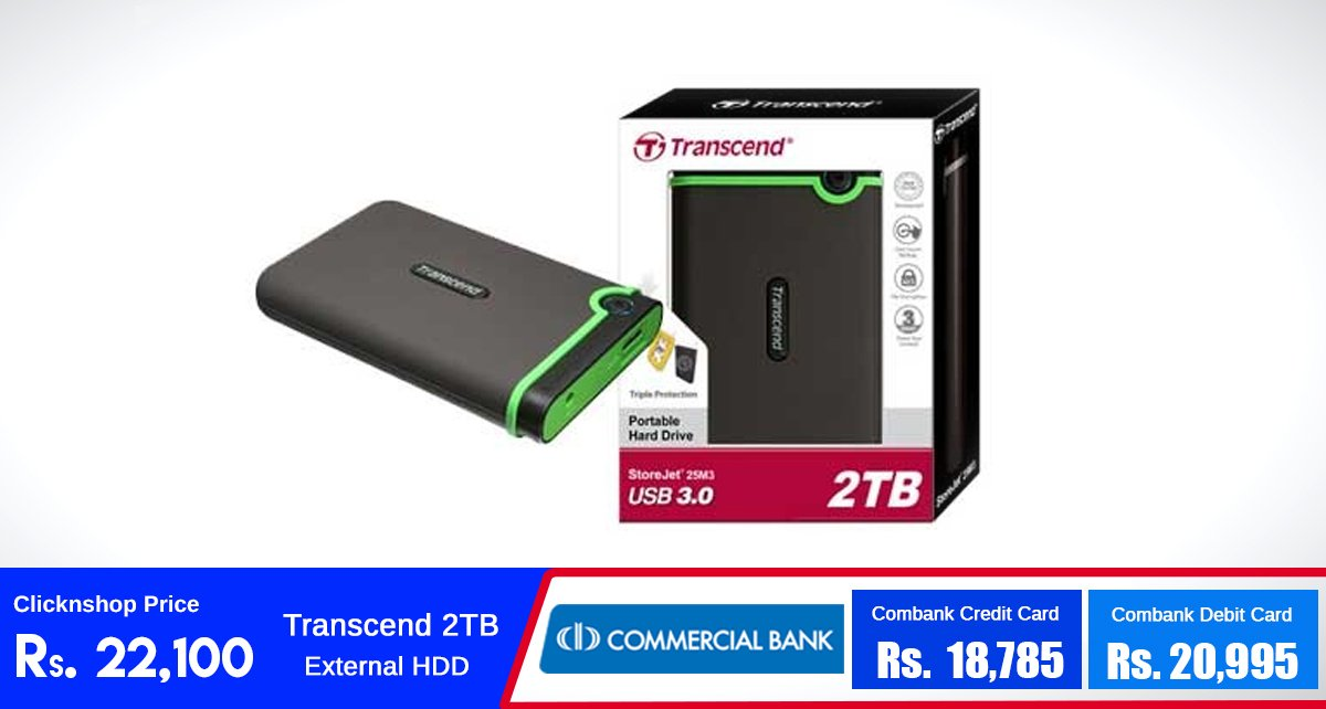 Store all your important files in this Transcend 2TB External Hard Drive for just Rs.22,100 at clicknshop.lk Buy Now:https://t.co/iJYZrE75ms https://t.co/SaOXZnJeys