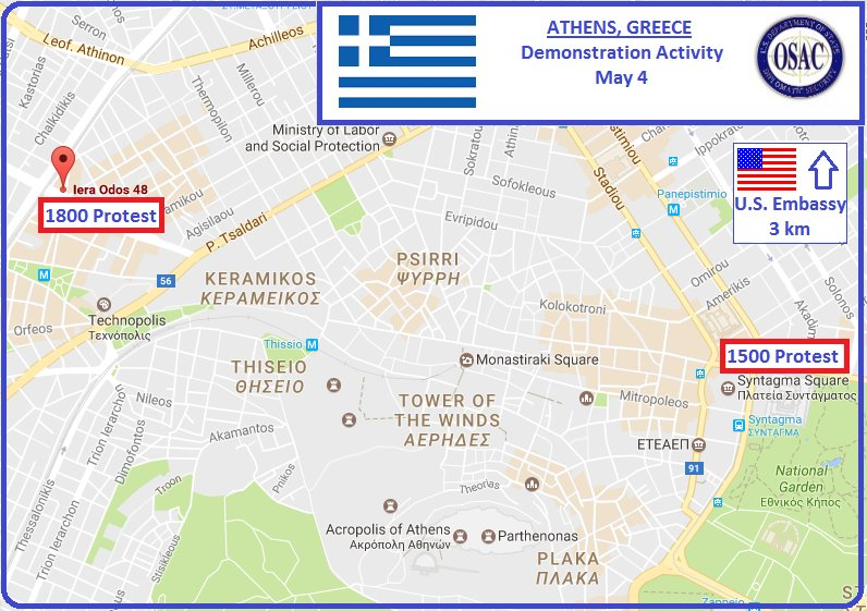 OSAC On Twitter Security Message From US Embassy Greece - Us embassy athens map