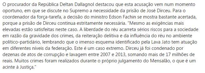 Ficou claro que a denúncia do MPF foi apresentada hoje em função da possibilidade de o STF soltar José Dirceu (julgamento na 2a turma).