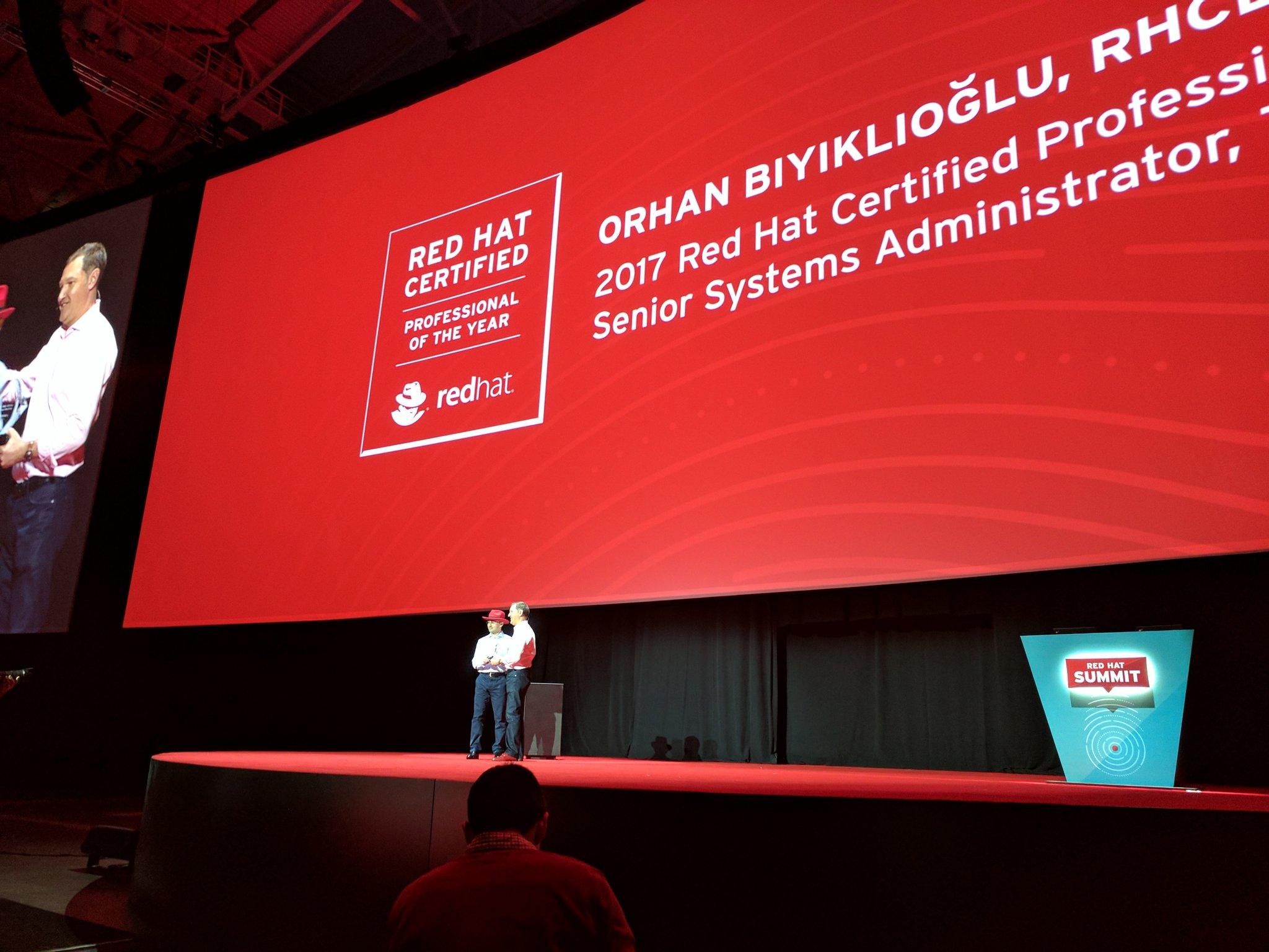 Congrats to @biyiklioglu - @RedHat professional of the Year #RHSummit https://t.co/SjPgvNrStF