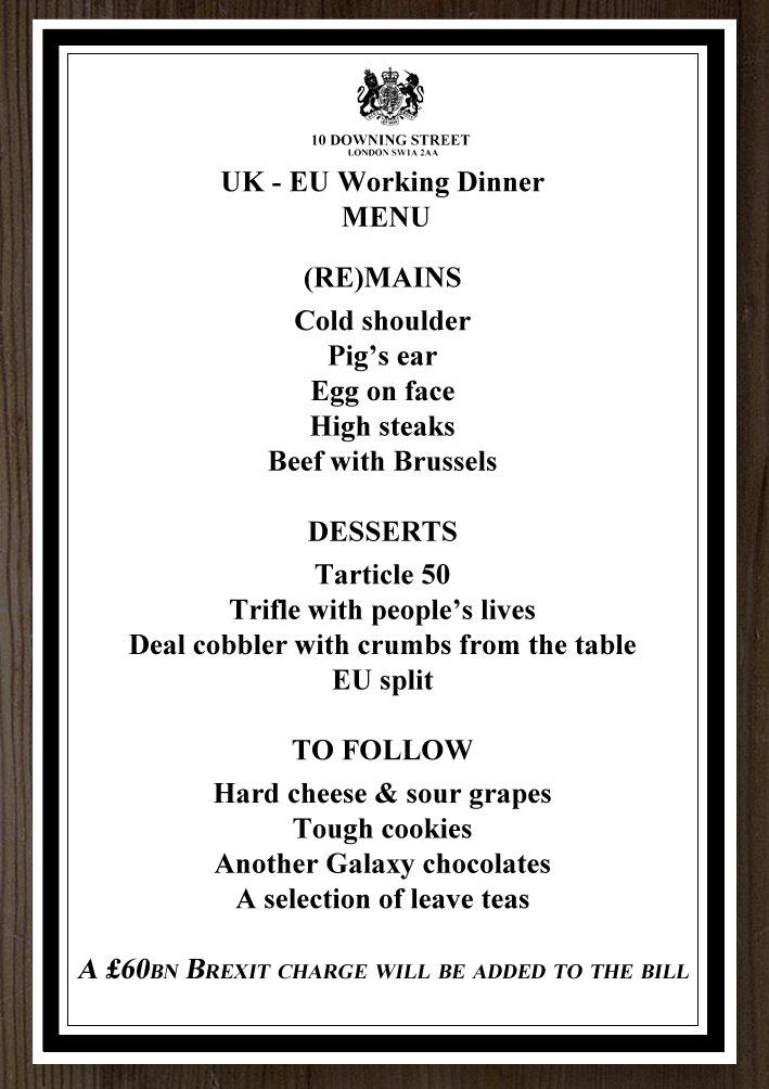 Menu of Theresa May and Jean-Claude Juncker's dinner: