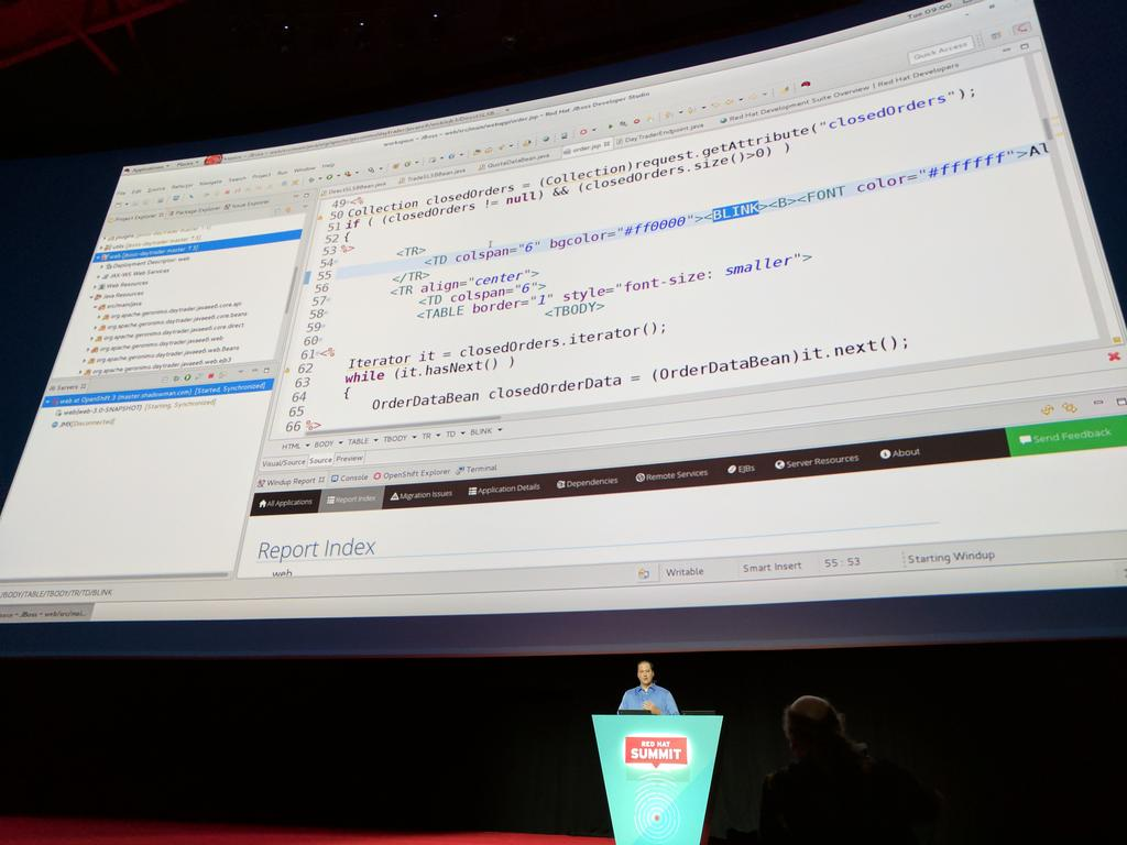 MyPOV - Very cool 15 minutes onto the #RHSummit keynote -  we look at code. Migrating a Weblogic API to #J2EE. https://t.co/yKG8cX1uWt