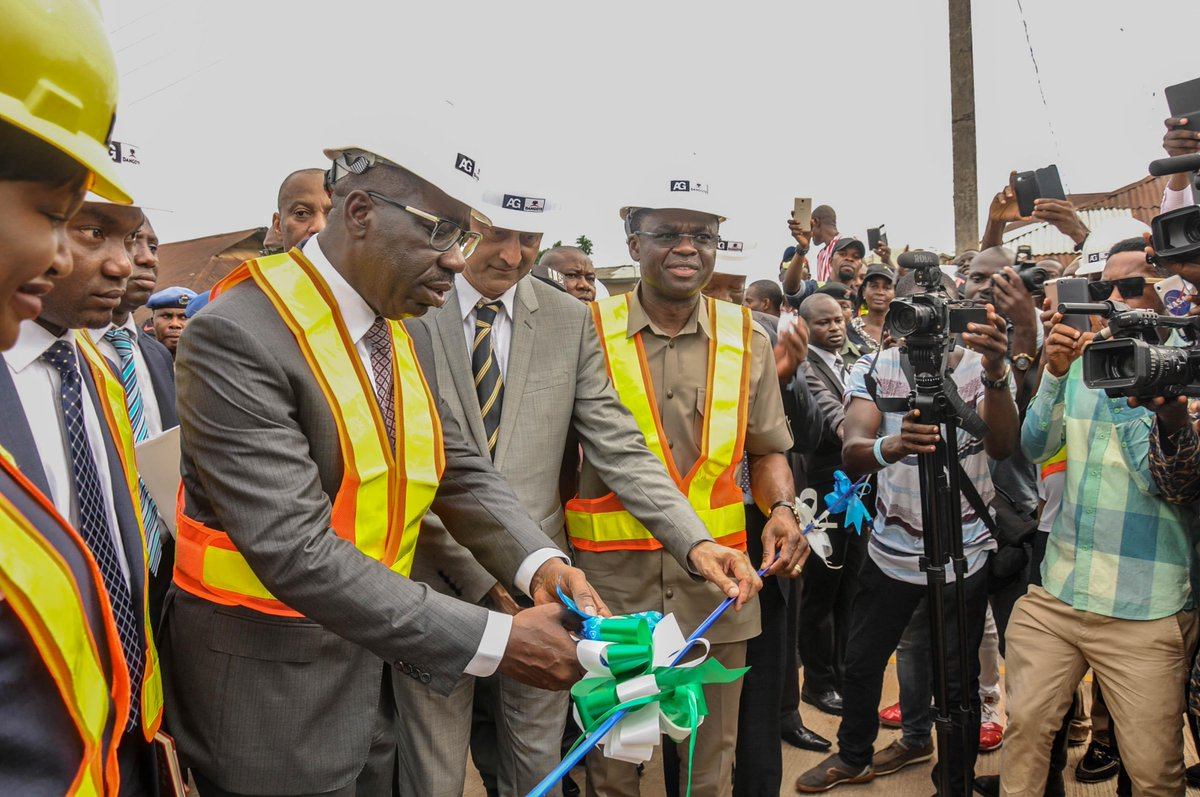 Image result for commissioning of the newly constructed Nevis Street Road, which links four major roads in Benin City.