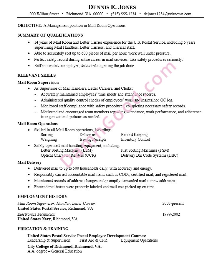 Resume Sample Mail Room Operations Management Dates Handled Carefully To Avoid Age Discrimination B2spm 0LF0xK Pictwitter IC5hsleUkf