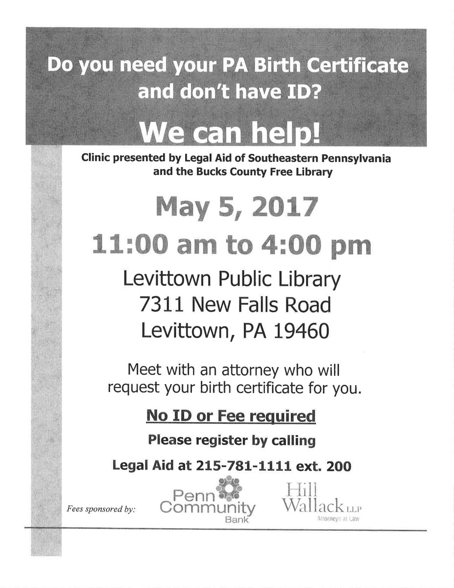 Legal aid of se pa on twitter need pa birth certificate and don legal aid of se pa on twitter need pa birth certificate and dont have id 5517 11am 4 pm free clinic bucksctylib levittown courierc couriertimes aiddatafo Images