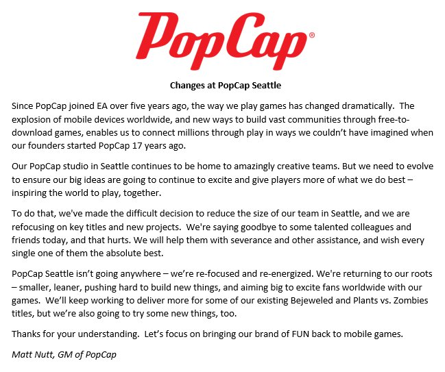 This note from our GM was shared with PopCap Seattle today. https://t.co/5kVcHLwTnt
