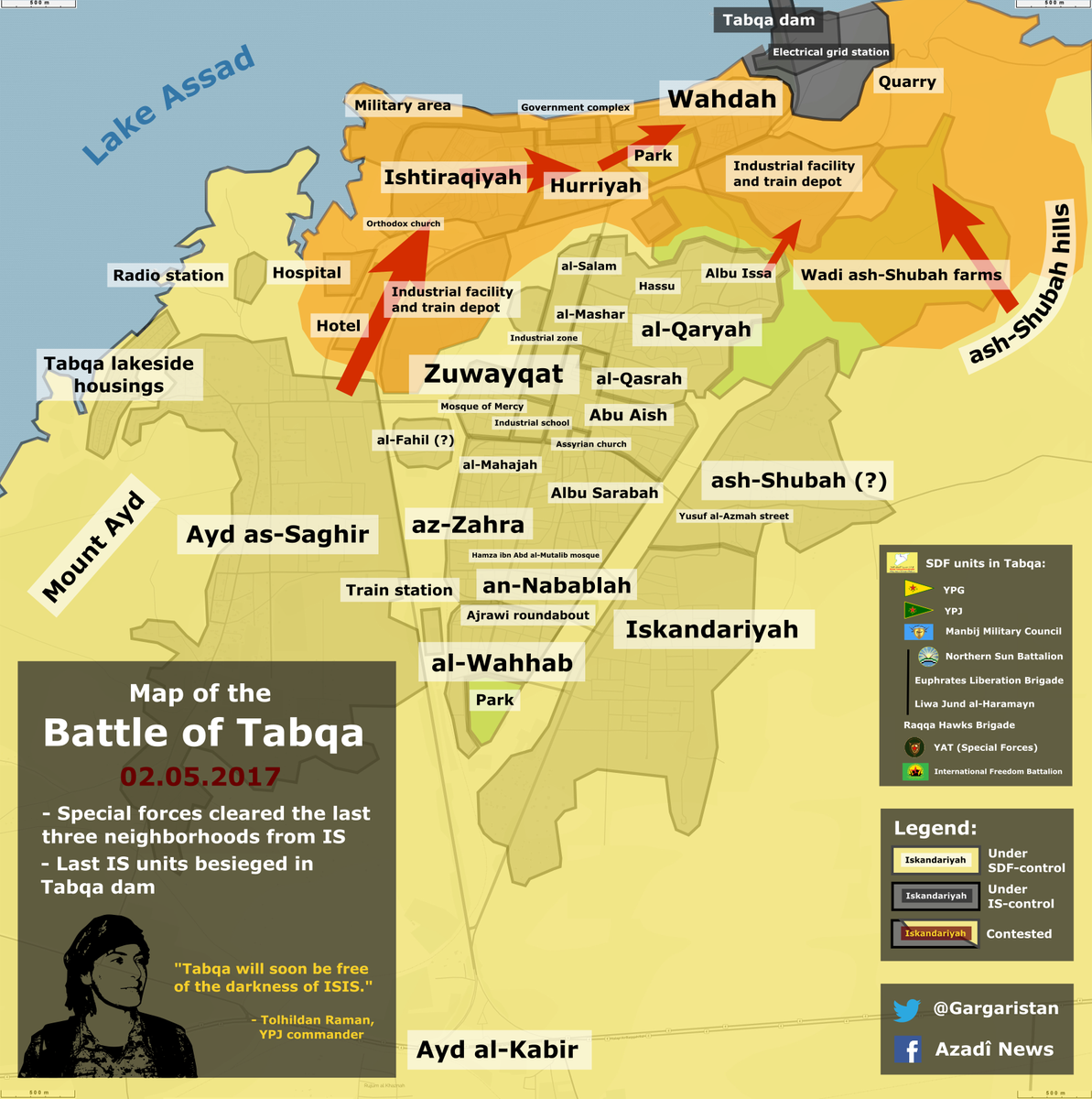 Gargari on Twitter Tabqa map update SDF cleared last