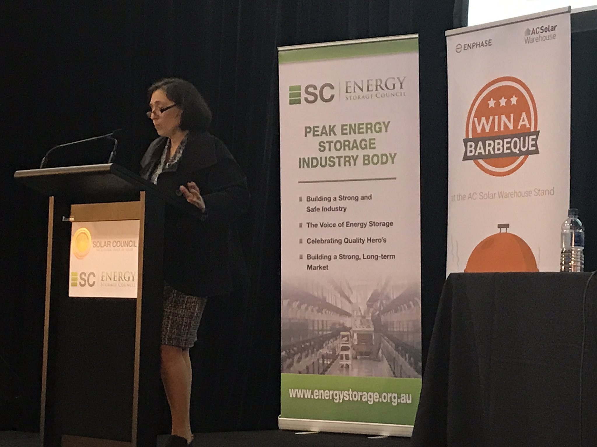 """""""Importance of investment, reliability and security"""" in managing transition to clean energy future. @LilyDAmbrosioMP #SolarStorage2017 https://t.co/ifxlPA62LH"""