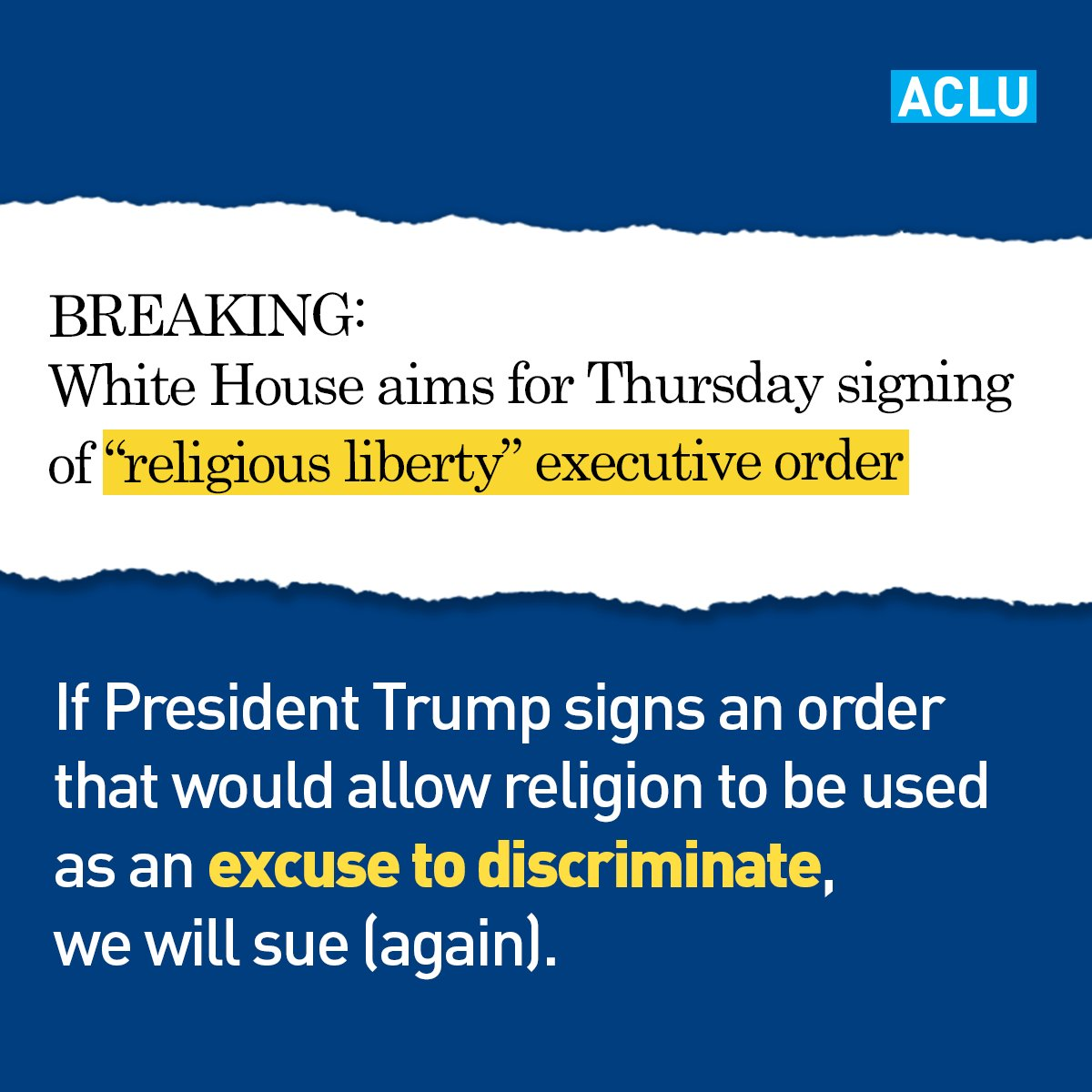 The ACLU fights every day to defend religious freedom, but religious freedom does not mean the right to discriminate against or harm others.