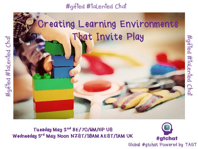 "T-10 till #gtchat - Today we'll be chatting about ""Creating Learning Environments that Invite Play"" https://t.co/ltzs81el6g"