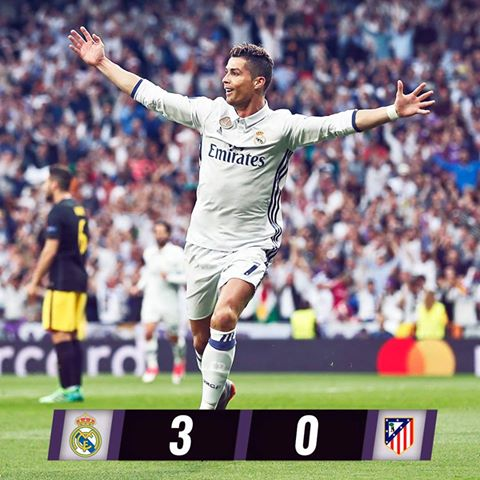 3-0 win and Cristiano Ronaldo scores a Hattrick! . Well going for the final. @Cristiano @realmadriden #realmadridatleticomadrid <br>http://pic.twitter.com/4x3T0dIKXW