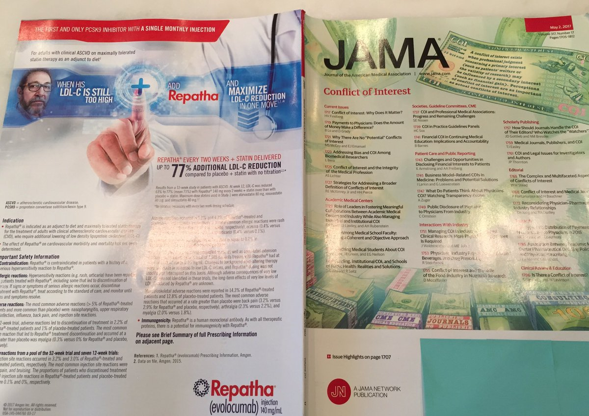 The irony of @JAMA_current issue on conflict of interest> https://t.co/kcHLZJcn5J