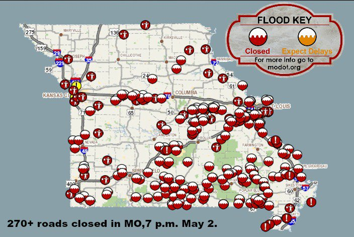MoDOT on Twitter I44 still closed in 2 spots across MO and I55