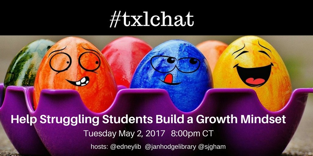 Only 30 minutes away from #txlchat #AwesomePD #GrowthMindset Special Guest @sjgham w/ @EdneyLib @IISDPatricia @janhodgelibrary #joinus https://t.co/KS33NBxCsf