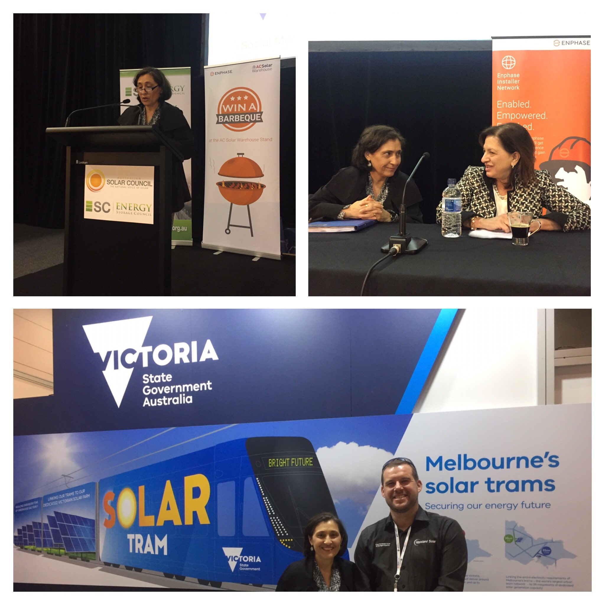 Speaking at #SolarStorage2017 on our vision for the future today. Great to see AEMO CEO Audrey Zibelman and @gippslandsolar #springst https://t.co/GVYr8JD5TN