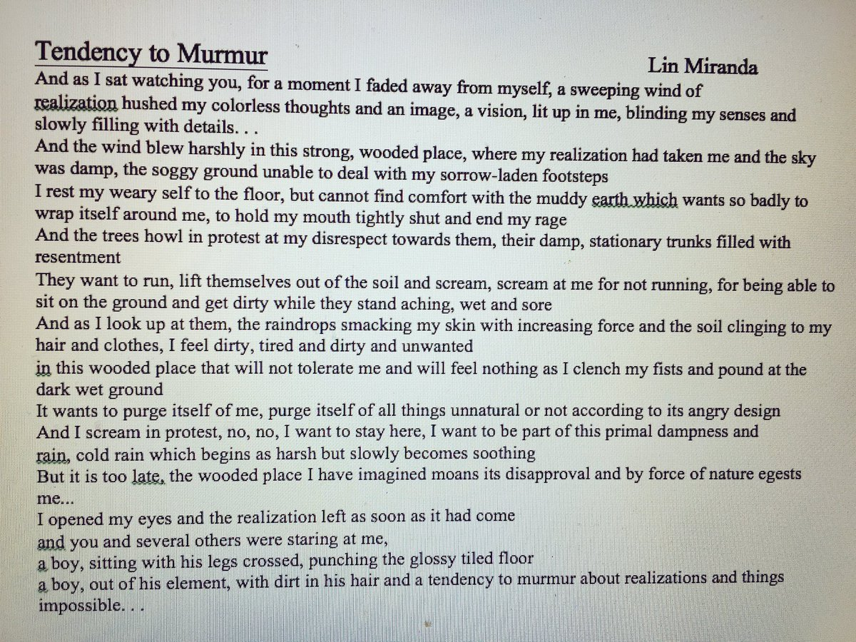 LinManuel Miranda On Twitter OOF I Wrote This Poem When I Was - Impossible poem