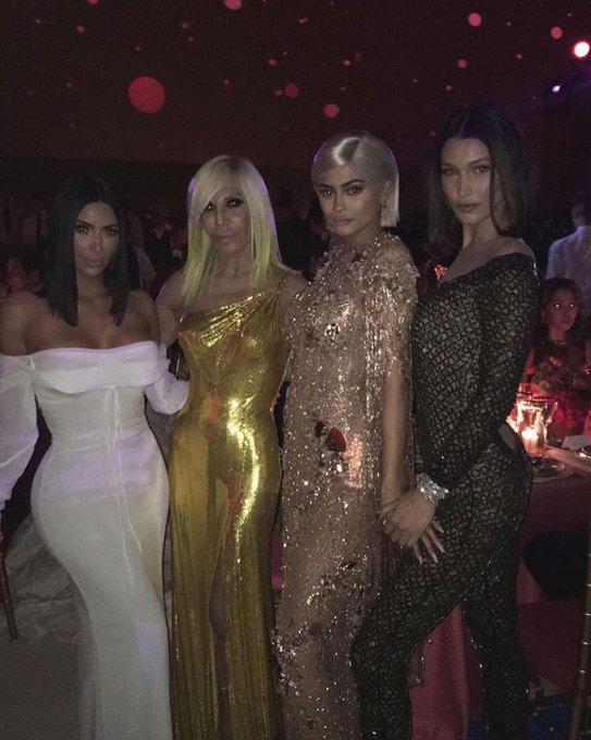 "Kim Kardashian via instagram \""Girl power last night! Happy birthday to the queen donatella_versace\"""