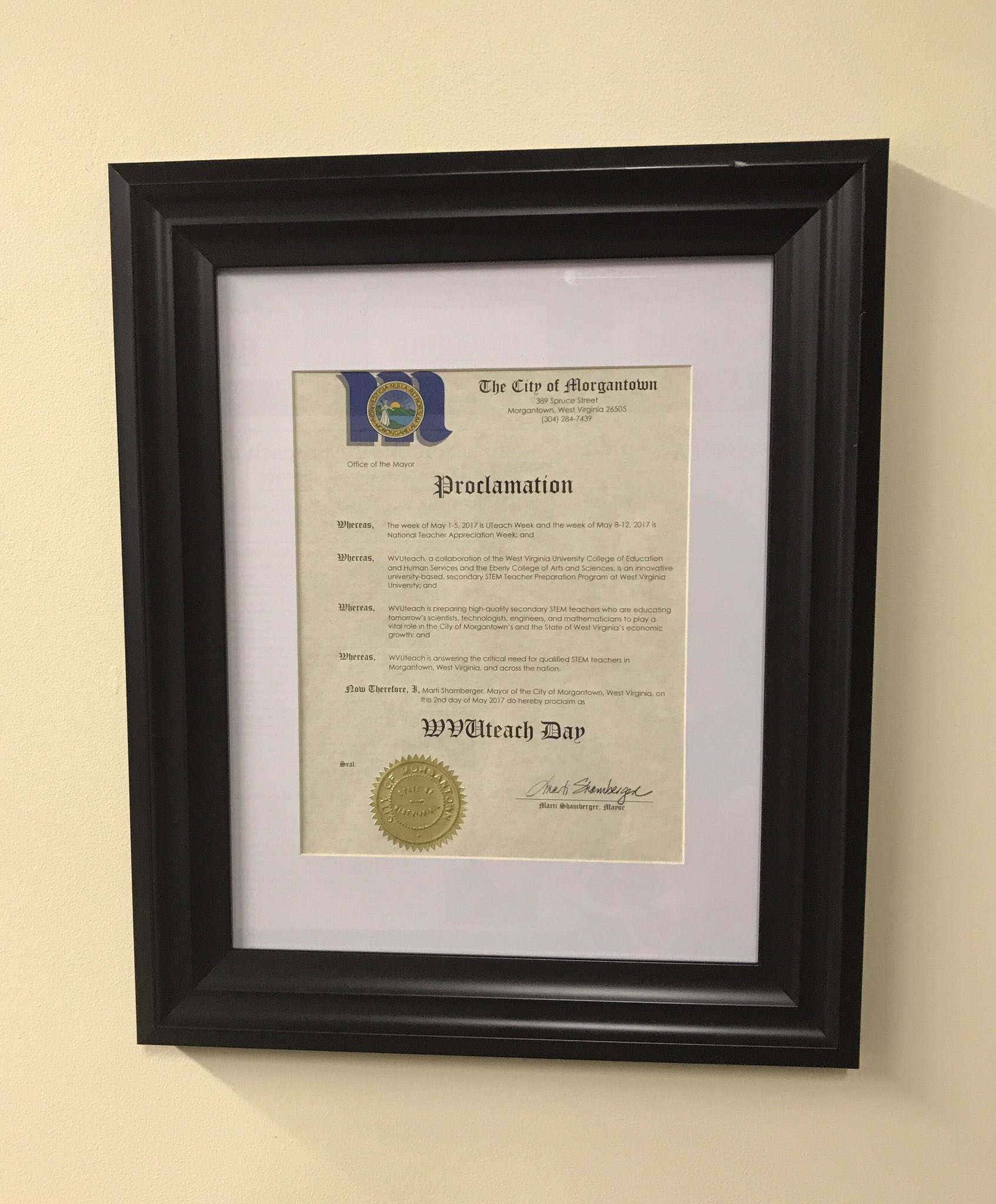 Proud to be WVUteach this morning after seeing the proclamation framed and hung at the WVUteach House! https://t.co/38Klr0SQxn