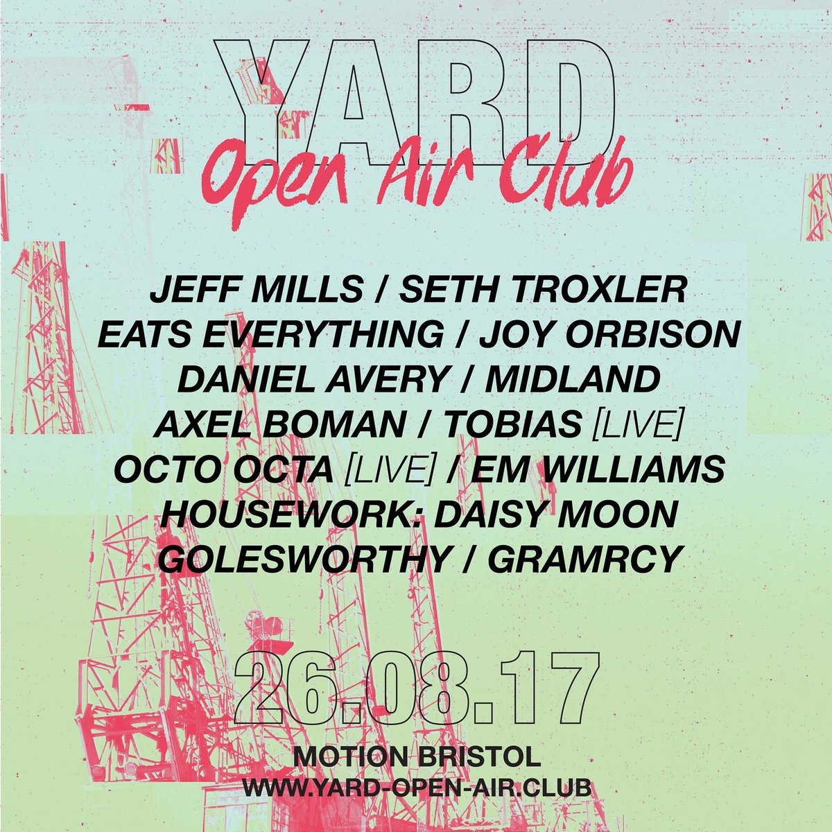 Incredibly excited to announce the line up for the very first 'Yard: Open Air Club'.