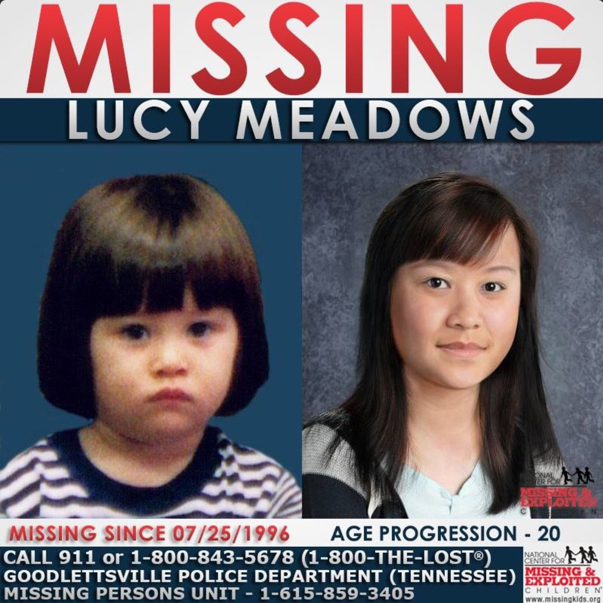 Lucy Meadows has been #missing since 1996. She is 24 years old now and was last seen in Goodlettsville, Tennessee. #RockOneSock #Missing <br>http://pic.twitter.com/3Av4eREc95