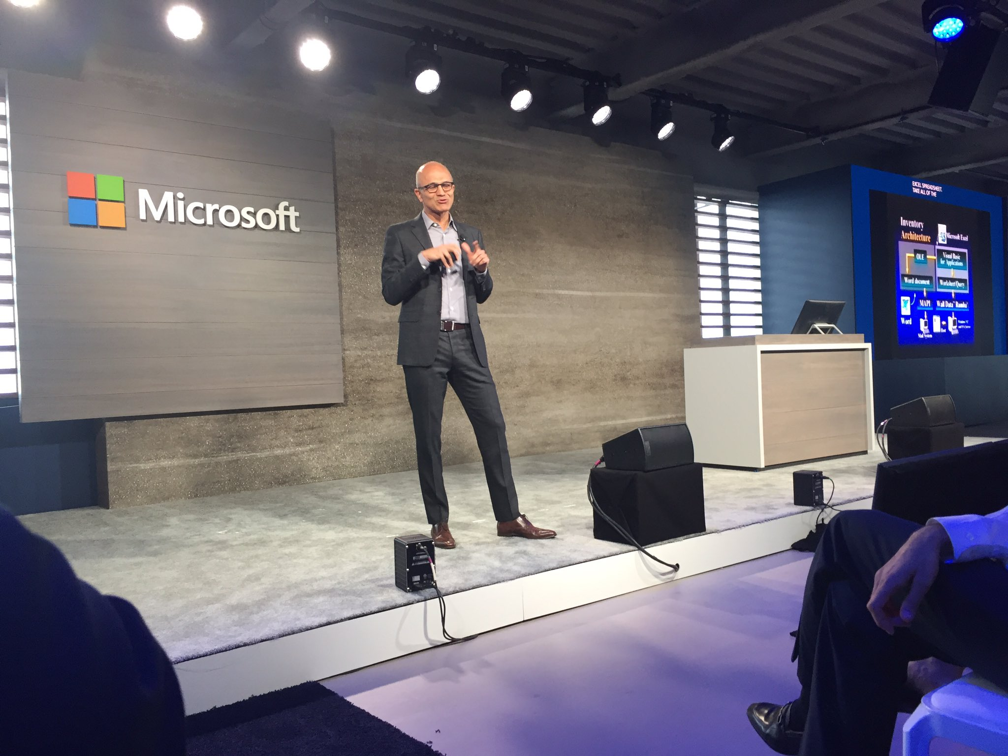 CEO Satya Nadella describes how MSFT will succeed through their customers' success using their technology. #msbusinessfwd https://t.co/qok0HTDyB3