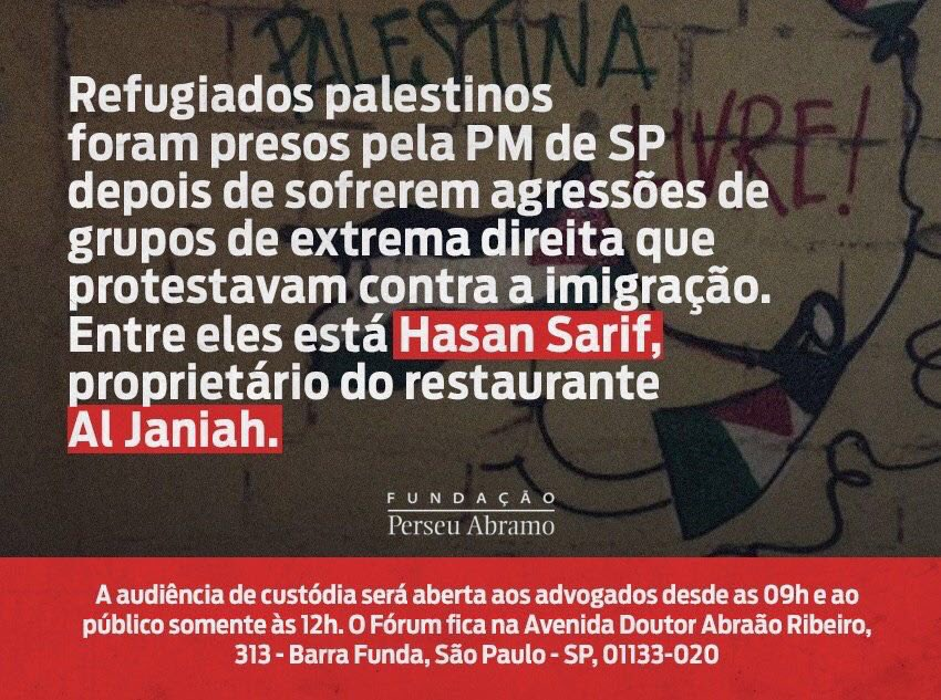 Não se cale! Posicione-se contra a intolerância e ódio! Grupo fascista agrediu imigrantes e refugiados palestinos e vítimas foram presas.