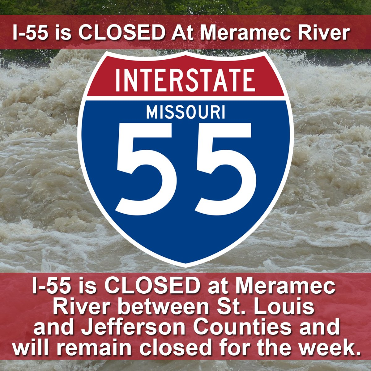 Southbound I-55 is now closed.  We're expecting northbound to close soon. https://t.co/K6q1K4AMPo