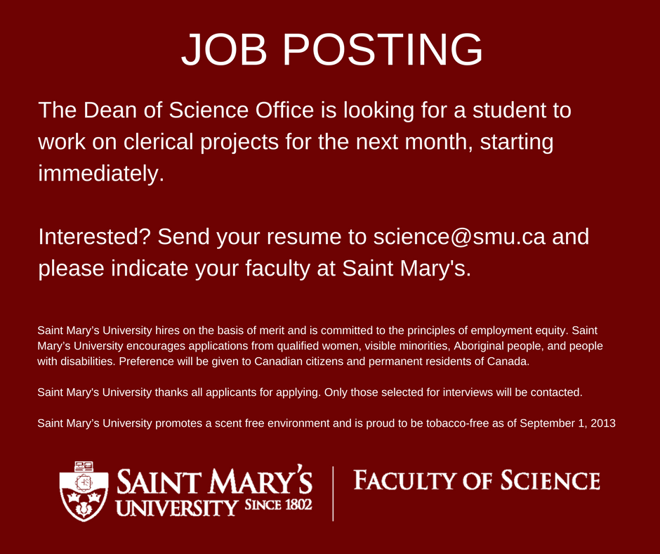 Smuscience On Twitter Job Posting Send Your Resume To Sciencesmu