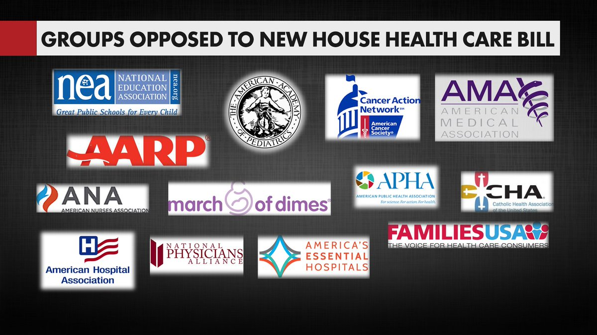 Reminder. Basically every group with skin in the game opposes the GOP healthcare bill.
