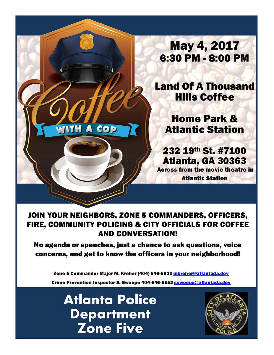 Atlanta 311 On Twitter Come Have Coffeewithacop Tomorrow Tco AOn5H7p8tb