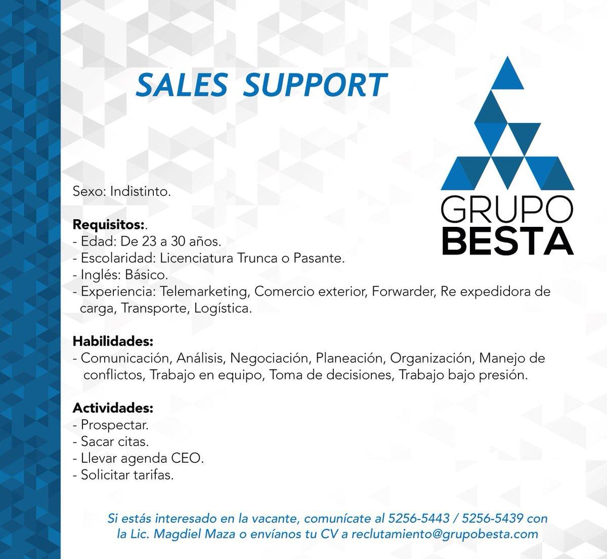 Sales Support  #buscotrabajo #buscoempleo #empleoQueretaro #BuscoEmpleoQueretaro<br>http://pic.twitter.com/4g2tCaG8Oa