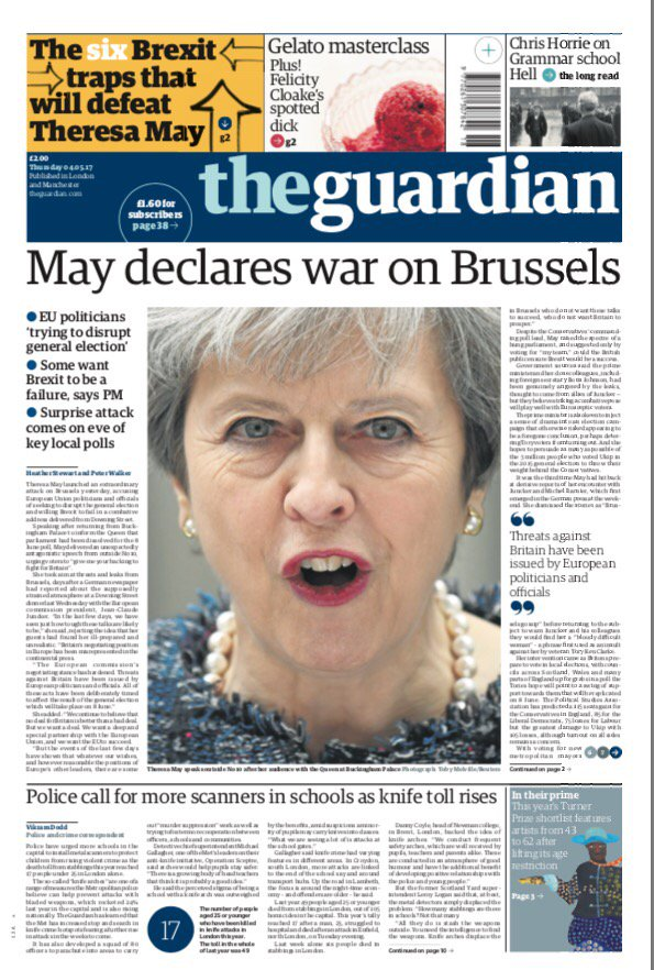 Thursday's GUARDIAN: 'May declares war on Brussels' #tomorrowspaperstoday #bbcpapers (@MsHelicat) https://t.co/4gGWbawoAv