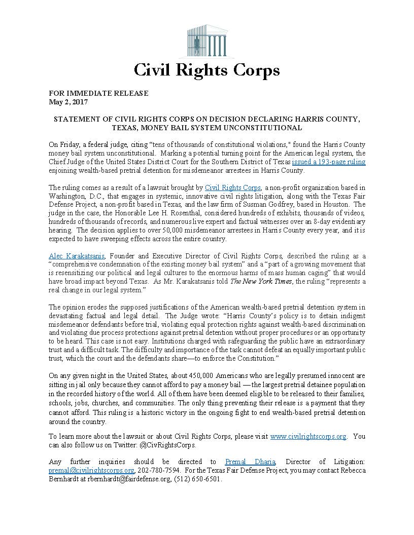 New Federal Court Decision Should Be >> Civil Rights Corps On Twitter Civrightscorps Statement On
