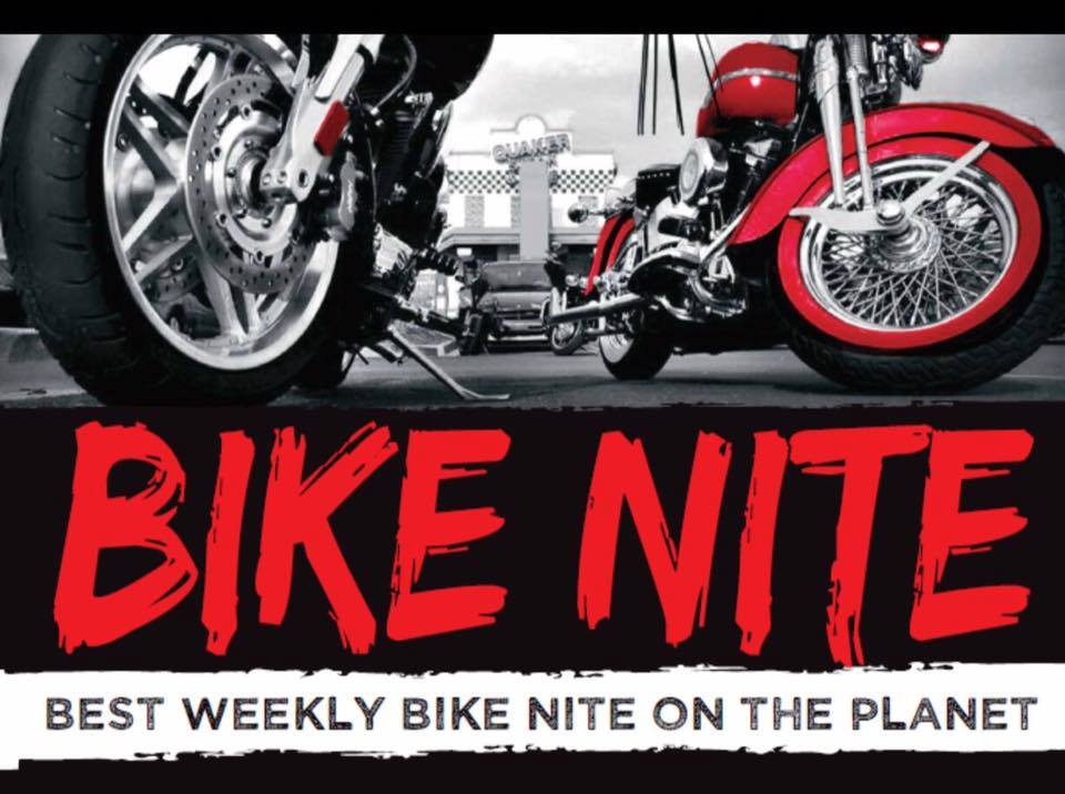 bike night in downtown bristol with black wolf harley davidson and