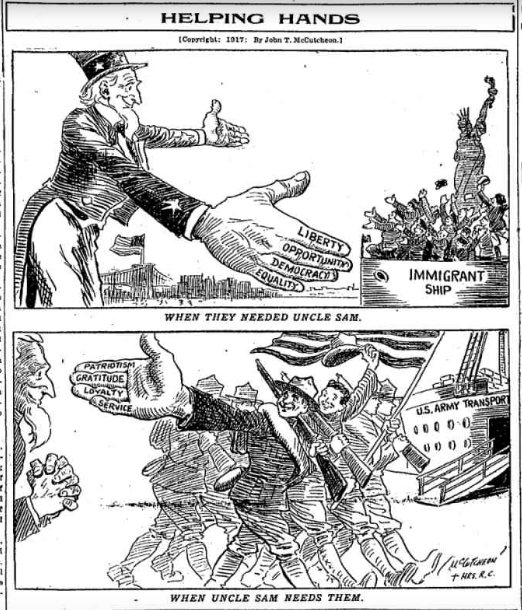May 3, 1917 - Chicago Tribune commends immigrants for doing their part to defend US. #100yearsago