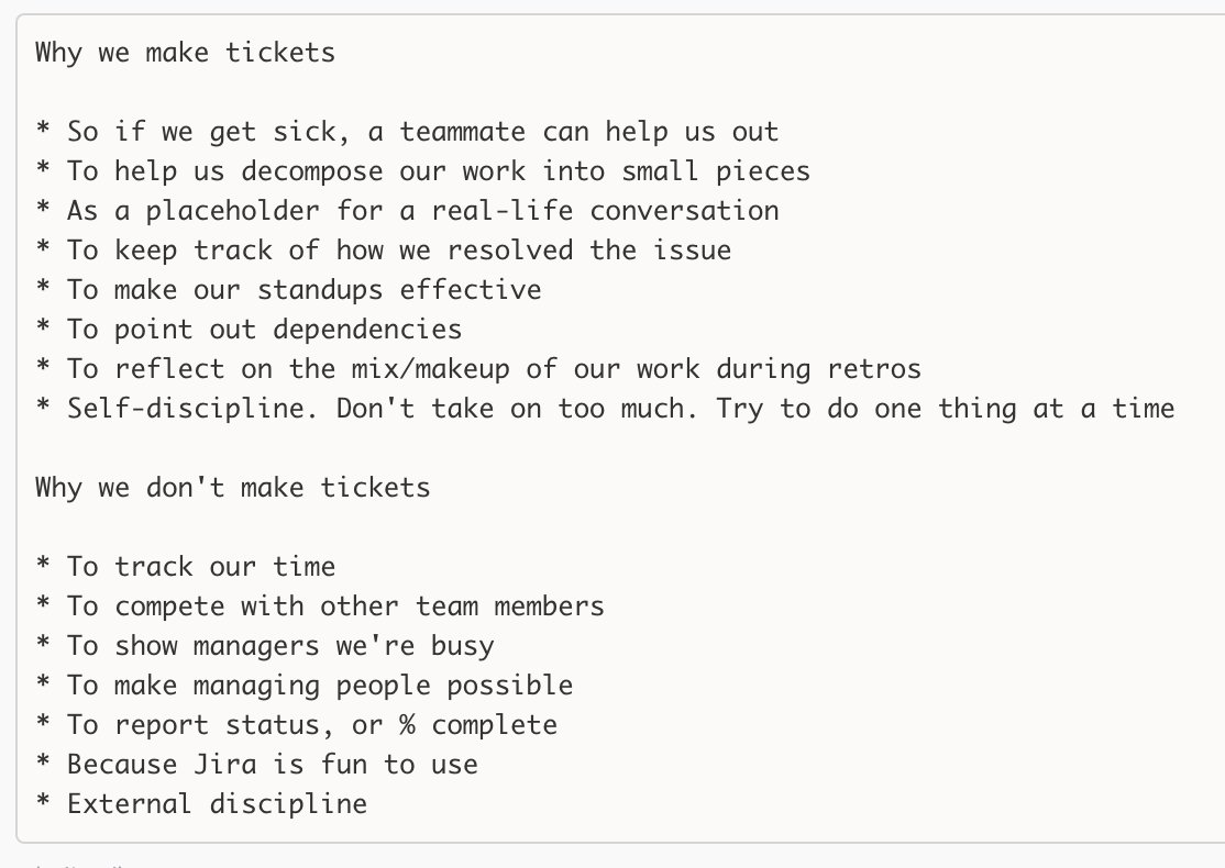 Why we make tickets