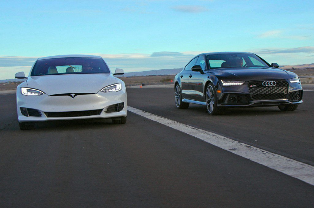 Tesla Model S P100D Goes Head 2 Head With Audi RS 7 Performance: