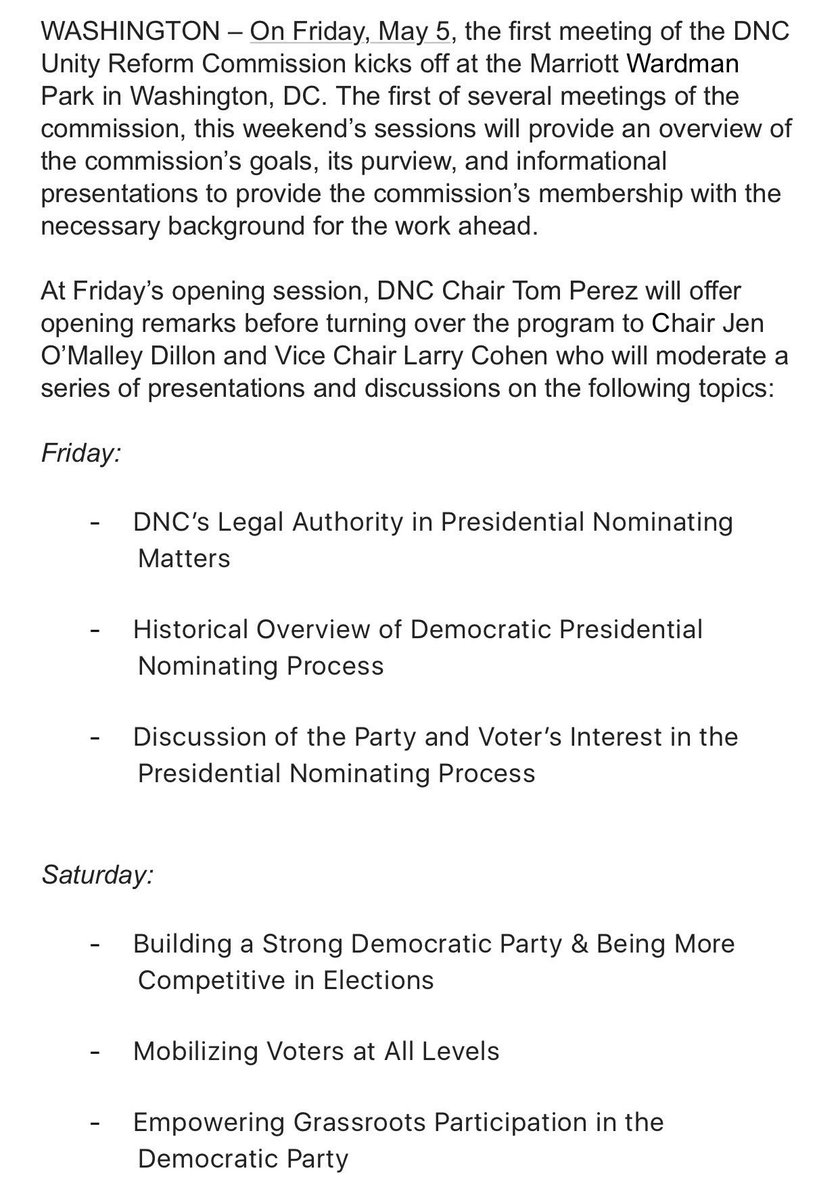 The #DNC's Unity Commission -- created to address superdelegates, caucuses, state order, etc. will hold its first meeting Friday. Topics:
