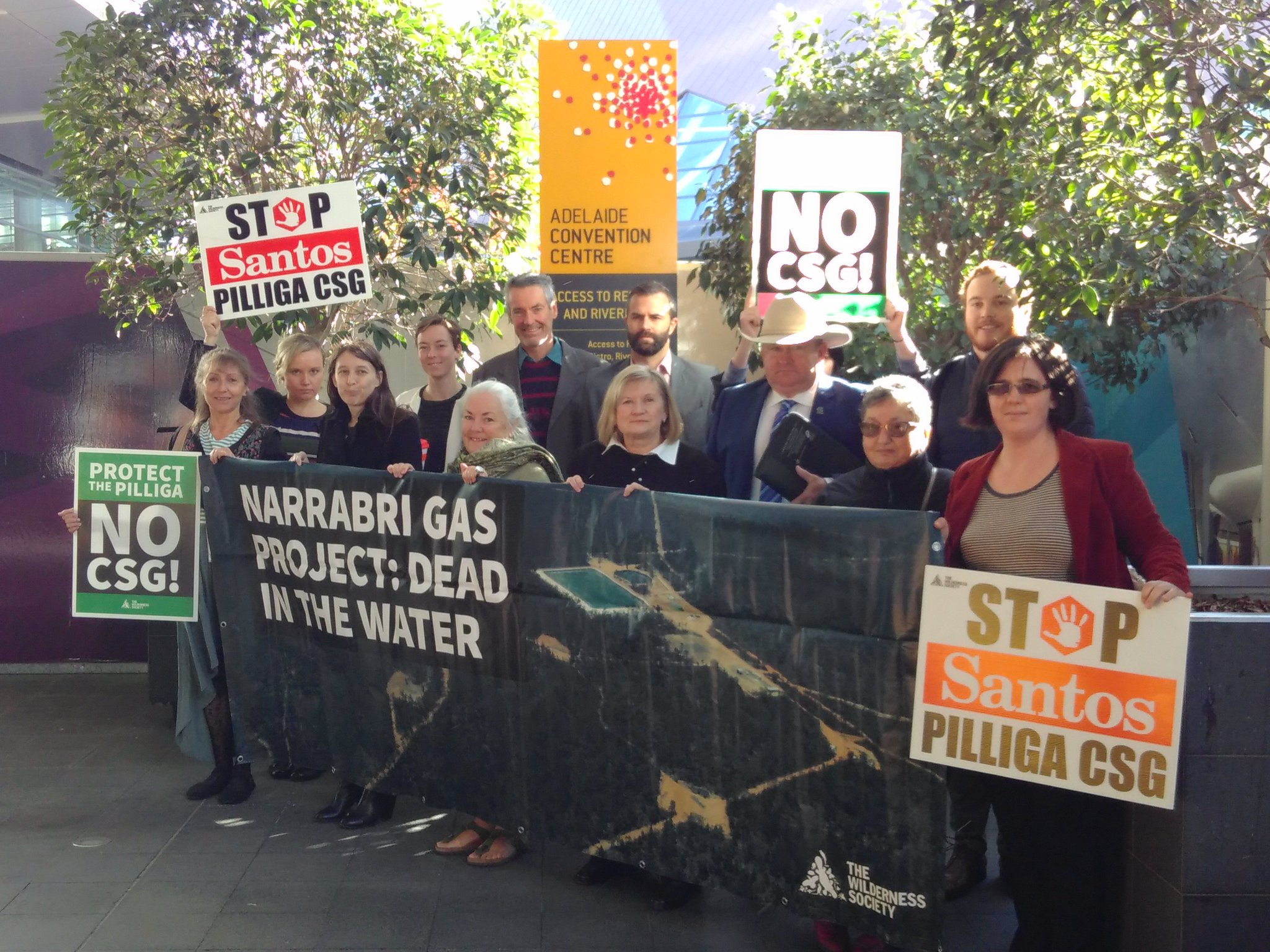 We're outside @SantosLtd AGM in #Adelaide today protesting against #CSG in the #pilliga forest – for our communities, water and safe climate https://t.co/jQ3gQpApf5