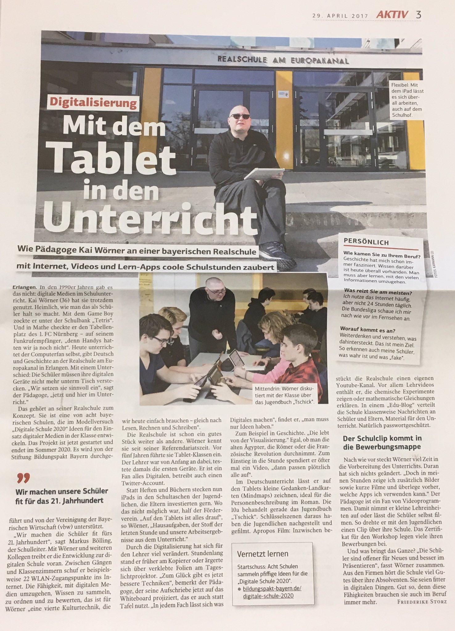 Danke an @AKTIVWirtschaft für den netten Artikel - #BayernEdu #Edupnx - #DigitaleBildung gemeinsam voranbringen 👍🏻 https://t.co/55WBkgU64N