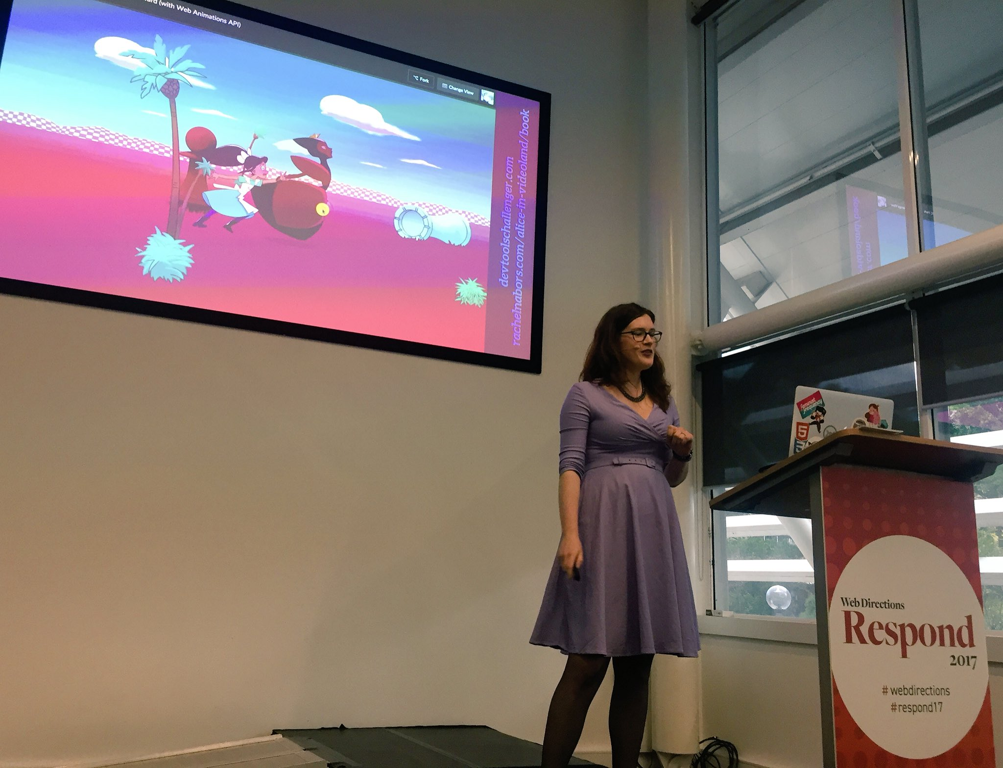 Yay finally get to see @rachelnabors present about animations on the web at @webdirections #respond17 https://t.co/U0GvUDogJk