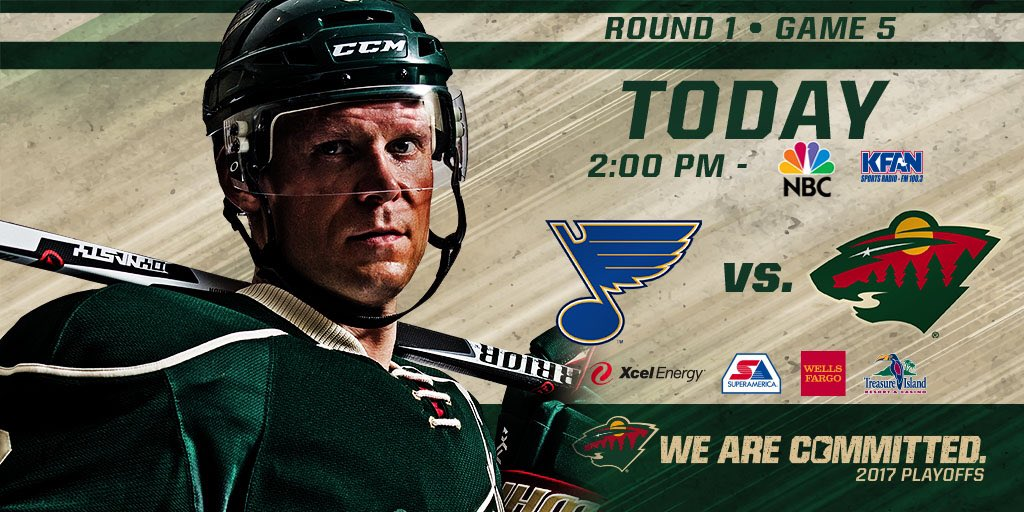 One shift at a time. Game 5 is today at 2. 📺 @NBC | 📻 @KFAN1003 | 📱 #MINvsSTL