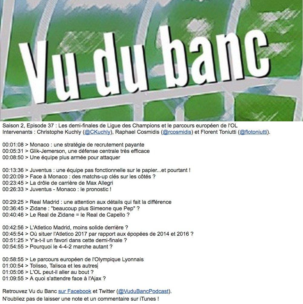 Nouveau @VuduBancPodcast ! Au programme, le dernier carré de #TirageLdC et le parcours européen de l'@OL.     >>  https:// goo.gl/eycZcw    pic.twitter.com/YOtU2XX4OF