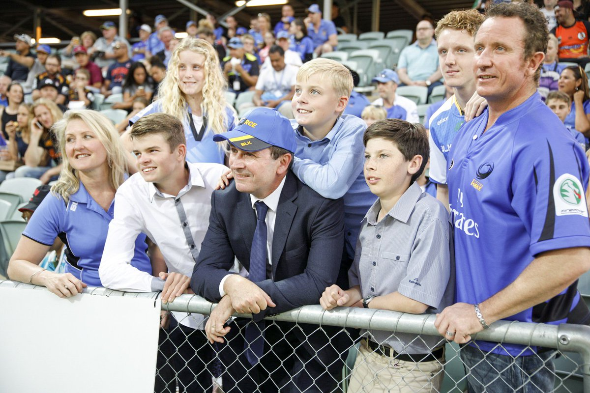 In the #SeaOfBlue with the young McGowans! Half time, close game! Come...