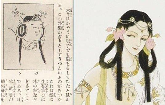 昭和初期の百科事典にあった男子が生花や木の枝を飾るのを「うづ」というの図が雑でわかりにくいので山岸先生のに入れ替えたほうがいいと思います。 https://t.co/0EcaWV09Kj