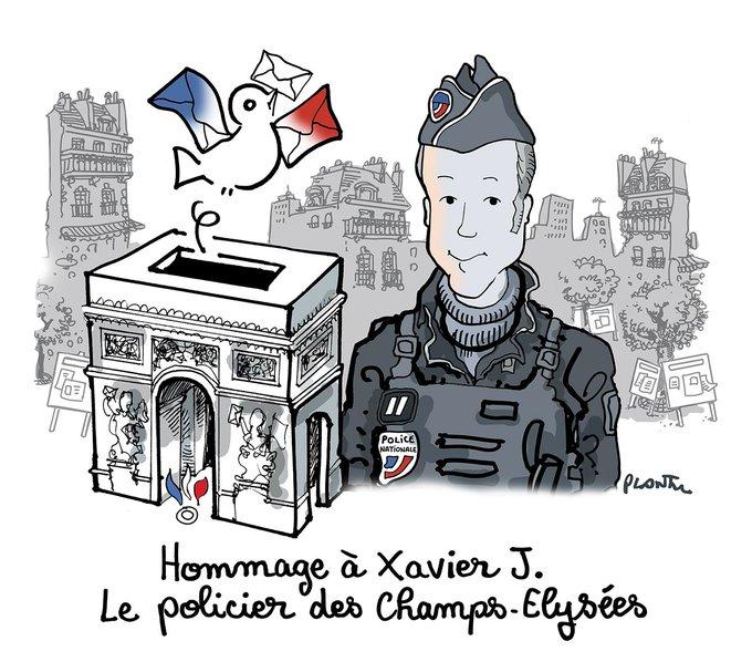 Hommage à Xavier J.  le policier des Champs-Elysées.