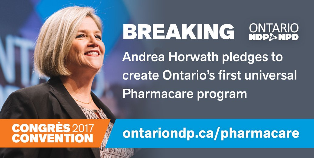 Just announced: @AndreaHorwath and Ontario's NDP will introduce universal Pharmacare for all Ontarians. #onpoli https://t.co/I6rvNUG9GY
